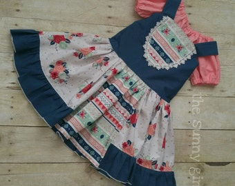 Custom Size Boutique Bib Style Dress, Aztec Sripes Floral Polka Dots, Navy Gray & Coral Dress, Trendy Layering Dress, Toddler Boutique Dress