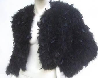 Ebony Maribou Cropped Feather Jacket. 1980's.