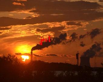 Intense Sunset with smoke stacks (JMT4)