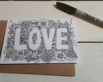Love Card - A6 Greetings Card - Henna Mehndi Art - Valentines Day - Wedding - Mandala - Zentangle - Drawing - Art Print