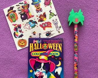 90's Lisa Frank Vintage Halloween Kitten Pencil Mini Coloring Book Tattoos