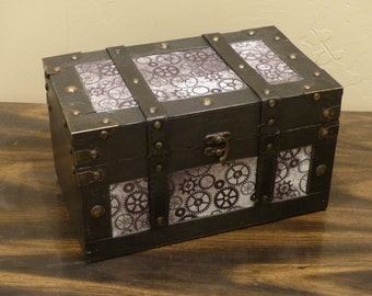 Home Decor Steampunk Cog Treasure Chest with Gears Vintage Style Wooden and Metal Container