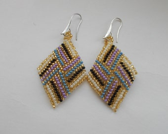 Earrings beaded earrings diamond beads Handmade Boho