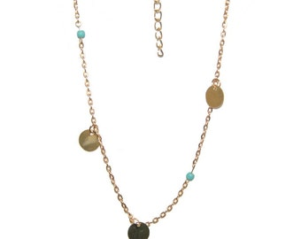 Necklace gold plated gold plated, turquoise pearls minimalist female