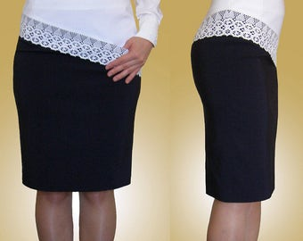 SALE! Asymmetrical navy, ivory, white pencil skirt with front pocket and lace trim. Sizes UK 10, 12 / US 6, 8