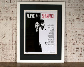 SCARFACE Poster in Bespoke Hand Crafted Mount & Frame