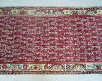 3'5''x6'6'' Handwoven Antique Rug, Turkish Anatolian Rug, Red Vintage Carpet