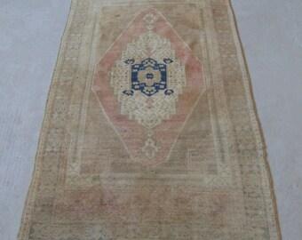 3'9''x7'2'' Peach Pink Rug, Vintage Handmade Rug, Distressed Oushak Carpet