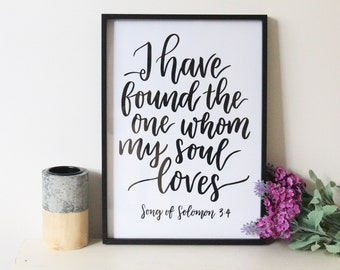 Whom My Soul Loves - Faith Print - Wedding Gift - Wedding Print - Christian Gifts - Love Quotes - Love sayings - Gift for a Friend