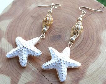White starfish dangle earrings with sea shells