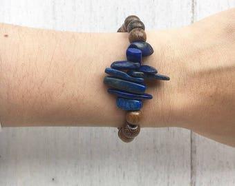 Gemstone Wood Bracelet - stretch bracelet, bead bracelet, stackable bracelet, womens bracelet, beaded bracelet, bracelets
