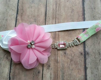 Spring headband - floral headband - jewels headband - floral baby headband - baby girl shower gift - pink flower headband