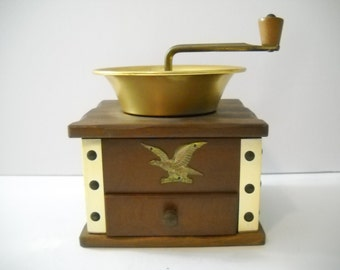 Coffee Grinder Wood and Metal with Eagle Decor
