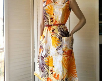 1960s orange patterned cotton mini sun dress with zip and side pockets