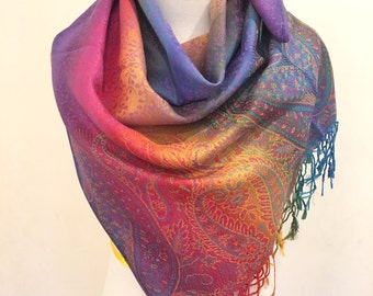 Pashmina Scarf Rainbow Scarf Pashmina Shawl Gift For Her Fashion Accessories Mothers Day Pashmina Scarves Women Scarf Christmas's Gifts