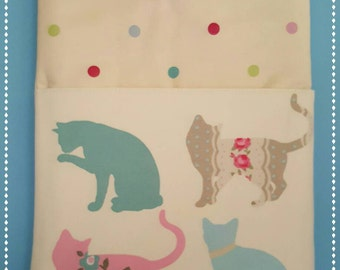 Chrome Book Case,Lenovo N22,Clarke & Clarke Pastel Cats With Pocket,Lap Top Case, Chrome Book Sleeve,Cute Cats.
