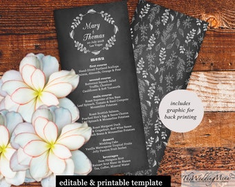 Wedding Menu PDF Wedding Menus Wedding Bar Menu diy Menu Card Rustic Menu Chalkboard Menu instant download PDF Template, Digital 010