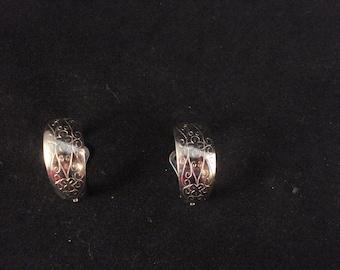Vintage Silver Tone Clip Hoop Earrings Etched Hoop Earrings