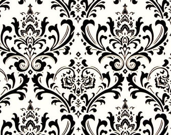 Premier Prints Traditions Black and White Damask Fabric by the Yard