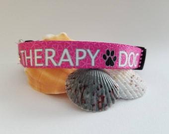 "Pink Therapy Dog Collar - Adjustable 5/8"" Fabric Dog Collar"
