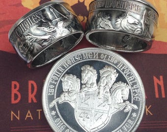 The White Horse of Conquest Coin Ring -- 99.99% Pure Silver