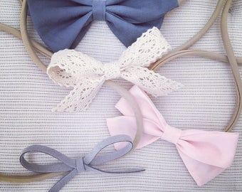 Baby girls headbands hairclips hairbands hand made bows for kids fabric bows