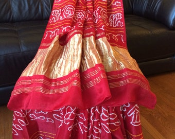 Pure Gaji silk Red Bandhani/ Bandhej saree