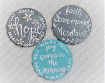 Set of 3 Refrigerator Magnets, Hand Lettered Magnets, Hand Painted Magnets, Hand Lettered Wood Signs, Hope Faith Joy Sign