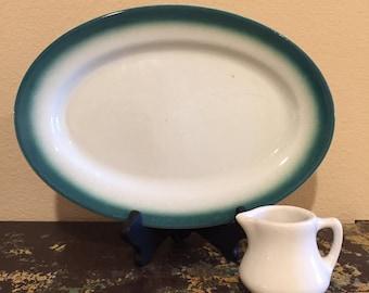 Caribe China Puerto Rico Green Rimmed Restaurant Ware Platter