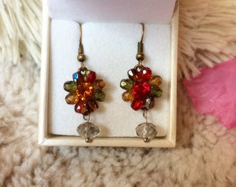 SALE-50%! with a transparent Pearl flower earring brilliant SALES! fancy flower multicolor and shinny pearl earring