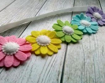 Rainbow headband, Rainbow Daisy headband, Wool felt flower headband, Colorful headband for girls, Rainbow hairband, toddler headband