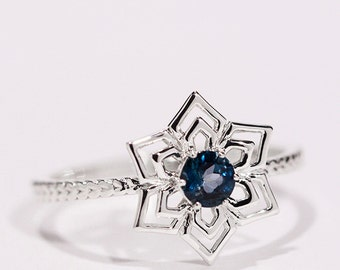 London Blue Topaz Ring, Genuine Natural Blue Topaz Ring, Snowflake Ring With London Blue topaz, Sterling Silver Ring
