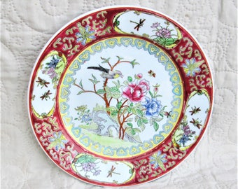 Vintage Chinese Plate, oriental porcelain, floral plates, bird collectors, bee collectors, insect decorative items