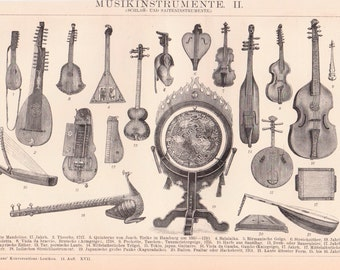 Antique Musical Instrument Print from 1890, Music, Musical Instruments, Music Print, Music Lithograph, Musical Prints, Instruments