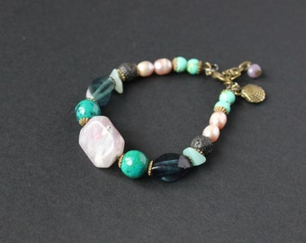 Amethyst stone bracelet Chrysocolla beads Pearl stone bracelet Fluorite bracelet Lava round stone Lilac bracelet Turquoise beads bracelet