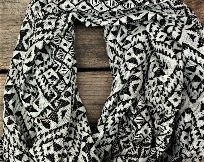 Black and White Aztec Infinity Scarf