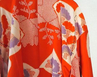 second hand juban, garment worn under kimono, Japanese vintage juban for women, book and flower