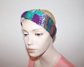 Knitted headband, knit twist head band, multi coloured turban, head warmer, ear warmer