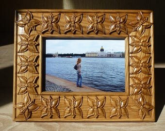 Photo Frame Carved Picture Frame Mother's Father Day Gift Birthday Natural Wood Oak Photo Gifts Hardwood Valentine Day