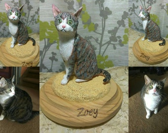 Custom Polymer Clay pet sculpture, memorial pet sculpture