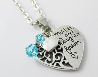 Mother & Daughter Forever Heart Charm Necklace 45cm Select Crystal Colour