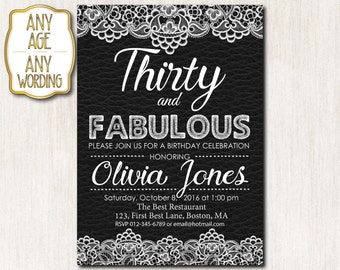 30th birthday invitation, Leather invitation, Birthday party, Thirty and fabulous invitation, Black leather with white lace, ANY AGE - 1572