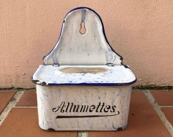 Antique enamel match / allumettes box french white marbled blue 12041712