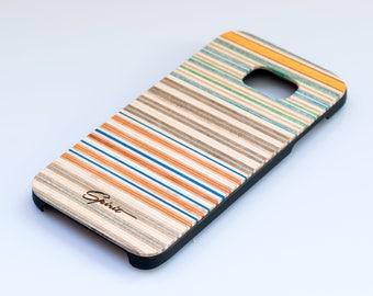 Samsung Galaxy S7 EDGE- Recycled Skateboard - Wooden Samsung Case - Skate Gift - Boyfirend Gift - Wood Galaxy S7 Edge -Orange Blue - S7 wood