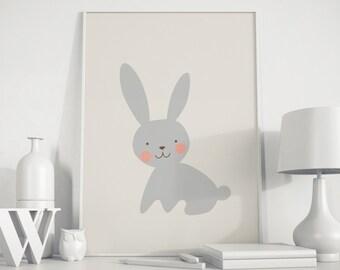 Bunny print, bunny wall art, rabbit art, rabbit poster, bunny kids art, nursery decor, nursery art, baby room, playroom decor, Animals art