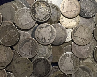 1 (one) Seated Liberty Dime, Random Pick - Average Circulated Condition - Some are CC mint marked - US 90% Silver Coins - Silver Investment