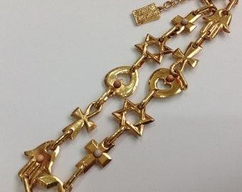 Beautiful vintage set necklace signed Lui Chantant gold tone era 1980s