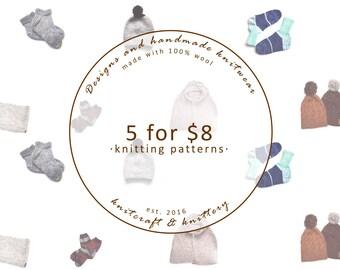 Knitting Pattern Bundle - Choose any 5 // Knitting Pattern Savings // Knitting Project Inspiration // Patterns for Beginners