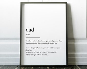 Gift for Dad, Dad Definition Print, Fathers Day Present, Fathers Day, Wall Art Print, Father Definition Print, Minimalist Print, Prints