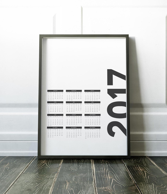 2017 Calendar Minimalist : Calendar wall handmade